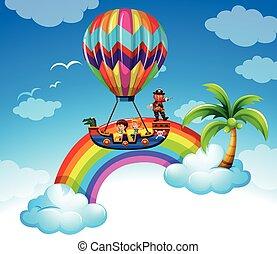 Kids riding on balloon over the rainbow