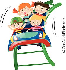 Kids riding on roller coster illustration