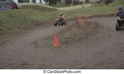 Kids Riding Quadbikes - Boys practicing Ride of Motocross...