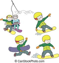 Kids riding snowboard