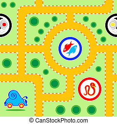 Kids road seamless - Seamless kids snail-car road pattern...