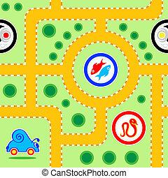 Kids road seamless - Seamless kids snail-car road pattern...
