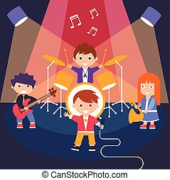 Kids Rock Band, Vector Illustration - Children Rock Band,...