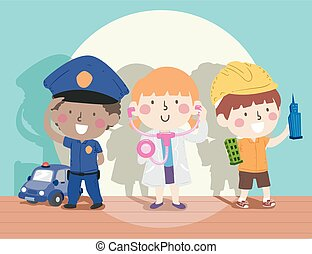 Kids Role Play Group Toys Stage Illustration