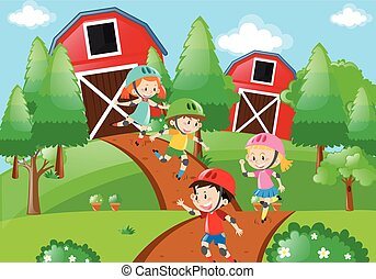 Kids rollerskating in farmyard illustration