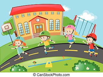 Kids rollerskating on the road illustration