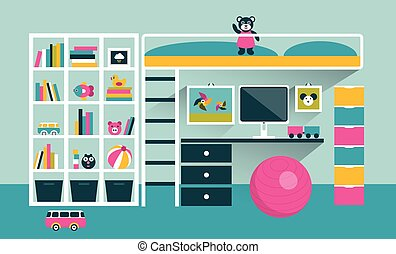 Kids room. Children furniture with bunk bed and table. Flat design