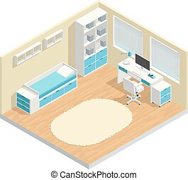 Kids Room Composition - Kids room isometric composition with...