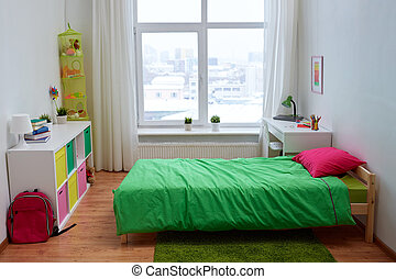 kids room interior with bed and accessories