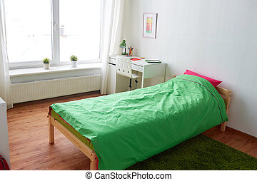 kids room interior with bed, table and accessories