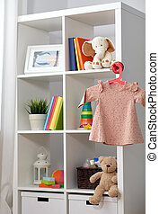 kid's room interior with bookcase and baby dress - kid's ...