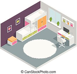 Kids Room Isometric Composition