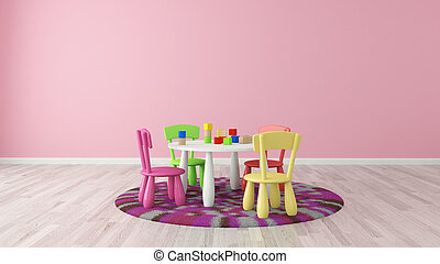 Child room with colorful table and chairs - rendering