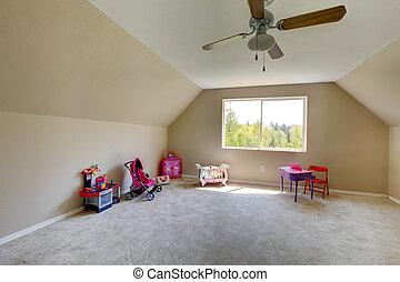 Kids room with amazing window view