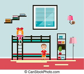 Kids Room with Bed and Window. Boy and Girl Vector Flat Design Home Interior Illustration.