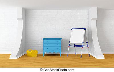 Kid's room with blackboard
