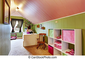 Kids room with green in pink color