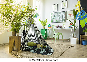 Kids room with play tent