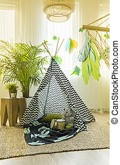 Kids room with tent