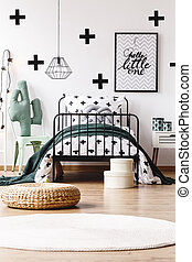 Kids room with trendy wallpaper