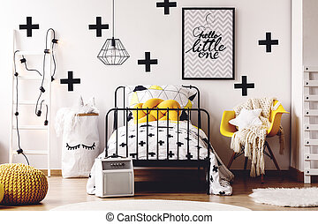 Kids room with yellow furniture