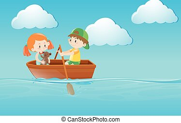 Kids rowing boat in the river