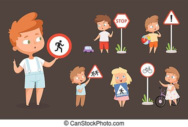 Kids rules road. School people with traffic signs safety education how crossing road traffic lights vector cartoon characters