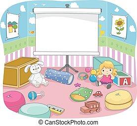 kids rum, projektion skærm, planke