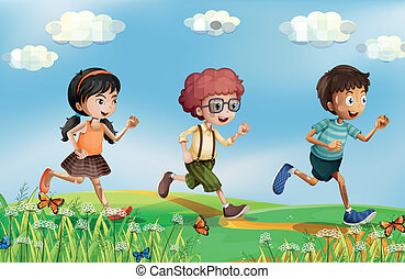 Kids running at the hills - Illustration of the kids running...