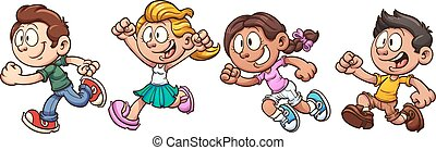 Kids running - Cartoon kids running. Vector clipo art...