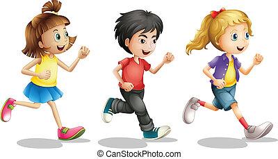 Kids running - Illustration of kids running on a white...