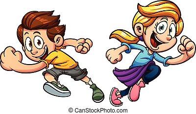 Kids running - Kids happily running. Vector clip art...