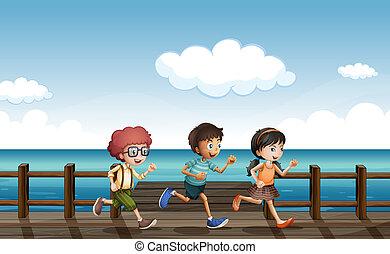 Kids running on a wooden bench - Illustration of kids ...