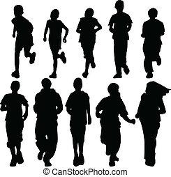 kids running - vector