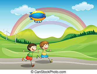 Kids running with an airship above - Illustration of the...