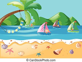 Kids sailing in the ocean