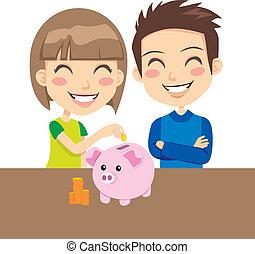 Kids Saving Money - Little boy and girl happy saving money...