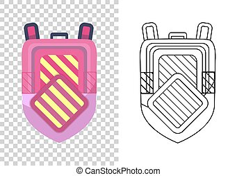 Kids school backpack. Colorful school bag. Education and study, backpack icon. Extravagant student satchel. Sketch and color style vector illustration on transparent background.