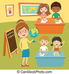 Kids school geography lessons illustration
