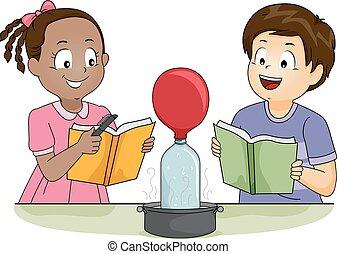 Kids Science Physics Heat Balloon Illustration