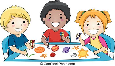 Kids Science Planets - Illustration of a Diverse Group of...