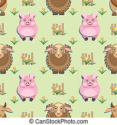 kids seamless pattern with animals