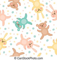 Kids seamless pattern with cute bears and hares.