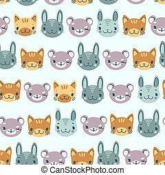 kids seamless pattern with heads of smiling animals bear hare kitten
