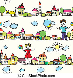 Kids seamless pattern with houses and weather