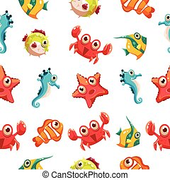 Kids seamless pattern with sea life