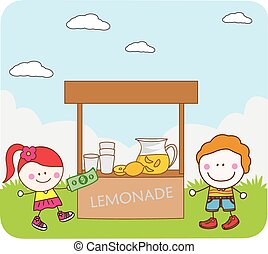 Kids selling juice