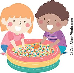 Illustration of Kids Playing with Water Beads from Inside a Sensory Pool