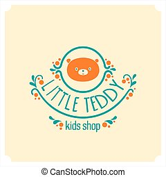 Kids shop logo with teddy bear. Cute kindergarten sign.