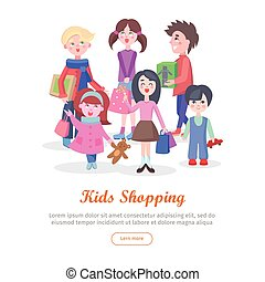 Kids Shopping Conceptual Flat Vector Web Banner